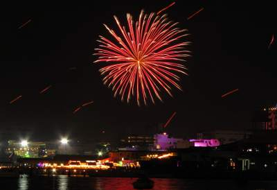 fireworks display over Pattaya Bay on New Years Eve 2010